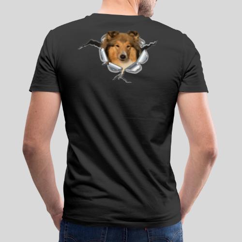 Collie (1) im Metall-Loch - Männer Bio-T-Shirt mit V-Ausschnitt von Stanley & Stella