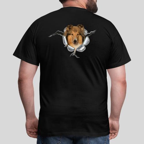 Collie (1) im Metall-Loch - Männer T-Shirt
