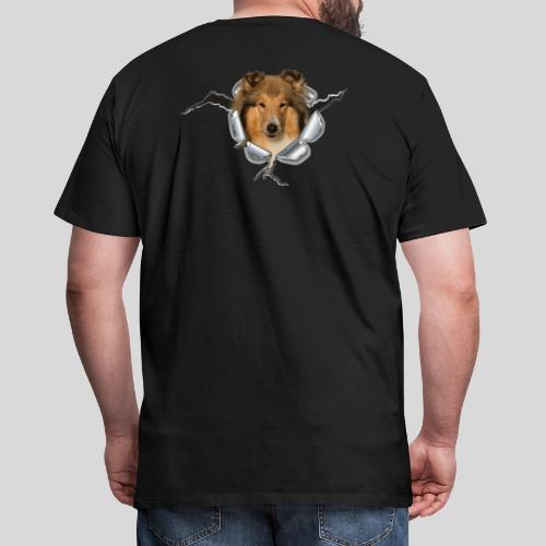 Collie (1) im Metall-Loch - Männer Premium T-Shirt