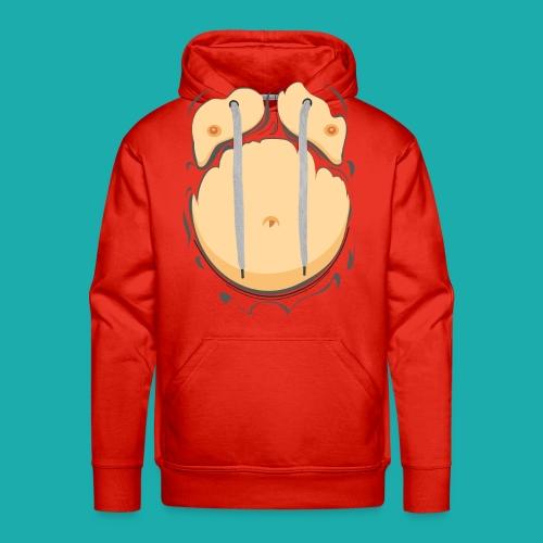Comic Fat Belly, beer gut, beer belly, chest t-shirt - Men's Premium Hoodie