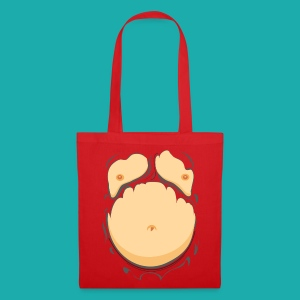 Comic Fat Belly, beer gut, beer belly, chest t-shirt - Tote Bag