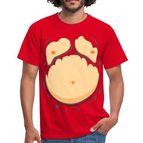 Comic Fat Belly, beer gut, beer belly, chest t-shirt - Men's T-Shirt