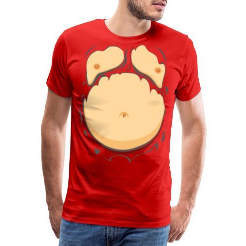 Comic Fat Belly, beer gut, beer belly, chest t-shirt - Men's Premium T-Shirt