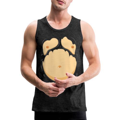 Comic Fat Belly, beer gut, beer belly, chest t-shirt - Men's Premium Tank Top