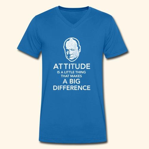 Churchill Zitat T-Shirt - Männer Bio-T-Shirt mit V-Ausschnitt von Stanley & Stella