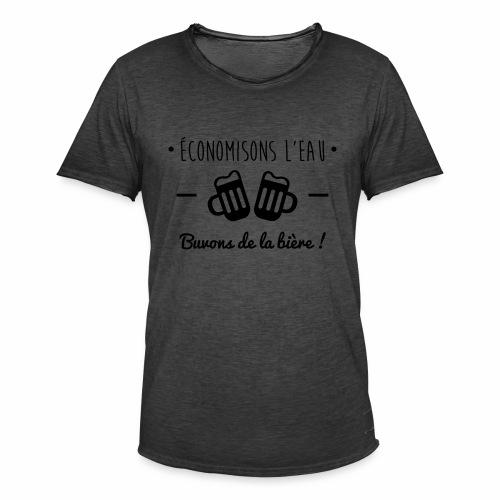 Economisons l'eau, buvons de la bière !  - T-shirt vintage Homme
