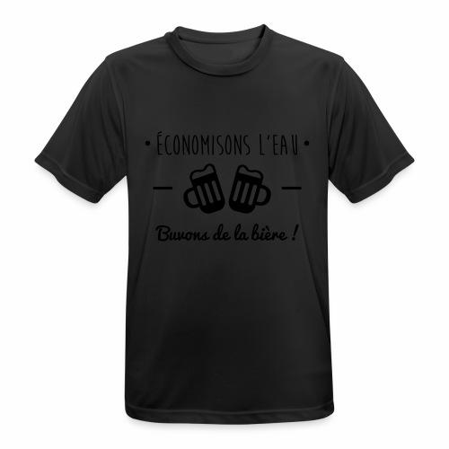 Economisons l'eau, buvons de la bière !  - T-shirt respirant Homme