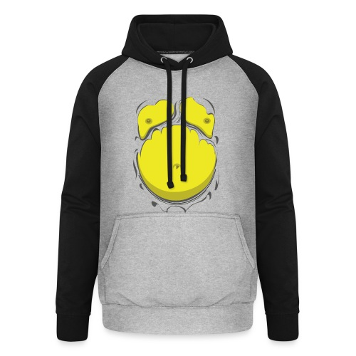 Comic Fat Belly Yellow, beer gut, beer belly, chest t-shirt - Unisex Baseball Hoodie