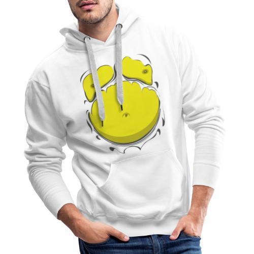 Comic Fat Belly Yellow, beer gut, beer belly, chest t-shirt - Men's Premium Hoodie