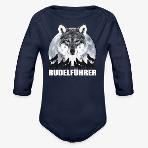 Rudelführer Wolf Vollmond Party Team Kinder LangarmShirt - Baby Bio-Langarm-Body