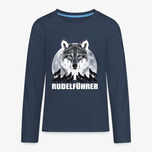 Rudelführer Wolf Vollmond Party Team Kinder LangarmShirt - Teenager Premium Langarmshirt