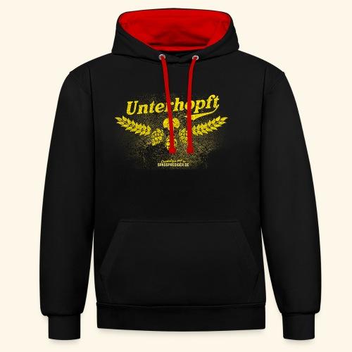 Unterhopft - das Original, distressed - Kontrast-Hoodie