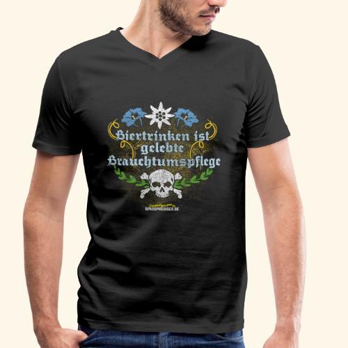 Biertrinken ist gelebte Bauchtumspflege - Männer Bio-T-Shirt mit V-Ausschnitt von Stanley & Stella