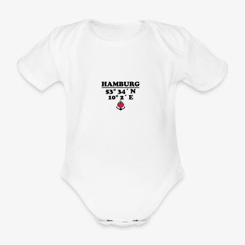 HAMBURG KoordinatenLängengrad Breitengrad Baby Body - Baby Bio-Kurzarm-Body