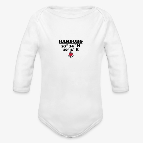 HAMBURG KoordinatenLängengrad Breitengrad Baby Body - Baby Bio-Langarm-Body