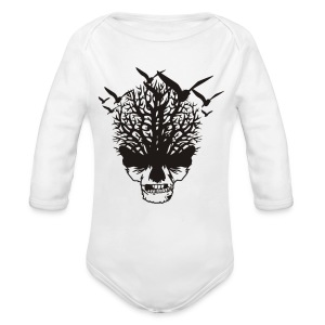 Creepy birds and skull girls T-shirt - Organic Longsleeve Baby Bodysuit