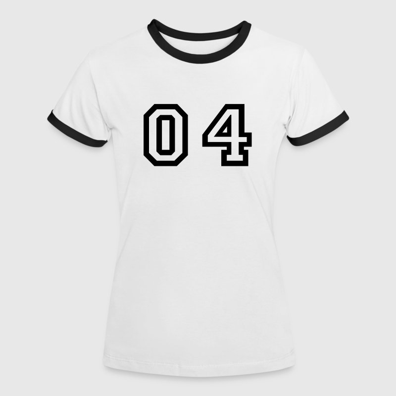 White/black number - 04 - zero four Women's T-Shirts - Women's Ringer T-Shirt