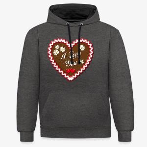 I Love You Lebkuchenherz Edelweiss Männer T-Shirt - Kontrast-Hoodie