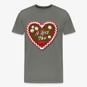 I Love You Lebkuchenherz Edelweiss Männer T-Shirt - Männer Premium T-Shirt