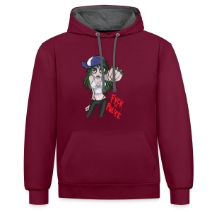 Fuck The Police Girl - Contrast Colour Hoodie