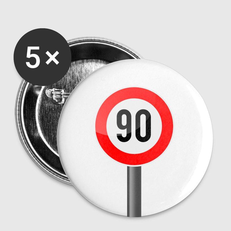 Weiß 90 Jahre Schild  Buttons / Anstecker - Buttons mittel 32 mm