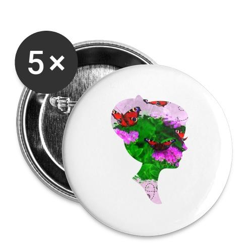 Schmetterling-Dame - Buttons klein 25 mm (5er Pack)
