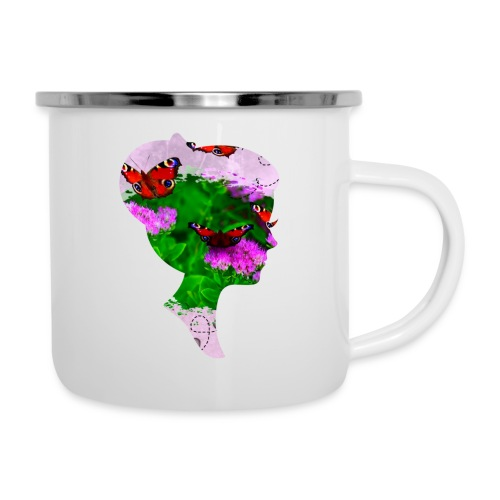 Schmetterling-Dame - Emaille-Tasse