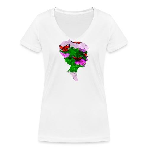 Schmetterling-Dame - Frauen Bio-T-Shirt mit V-Ausschnitt von Stanley & Stella