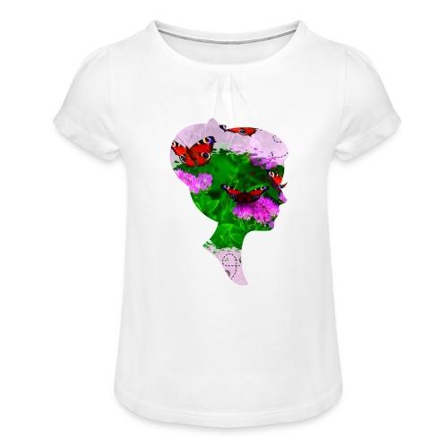 Schmetterling Dame - Mädchen-T-Shirt mit Raffungen