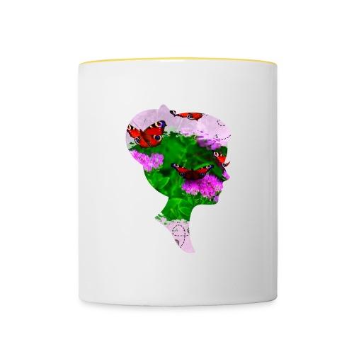 Schmetterling Dame - Tasse zweifarbig
