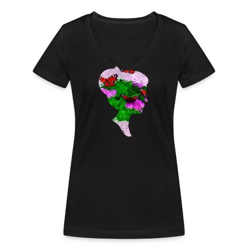 Schmetterling Dame - Frauen Bio-T-Shirt mit V-Ausschnitt von Stanley & Stella
