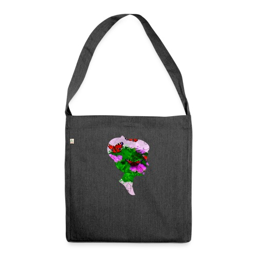 Schmetterling Dame - Schultertasche aus Recycling-Material