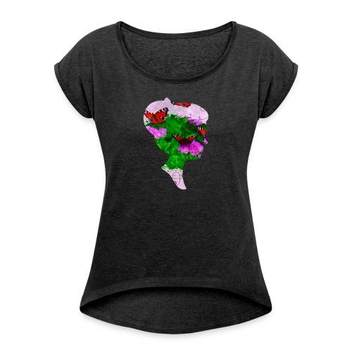 Schmetterling Dame - Frauen T-Shirt mit gerollten Ärmeln