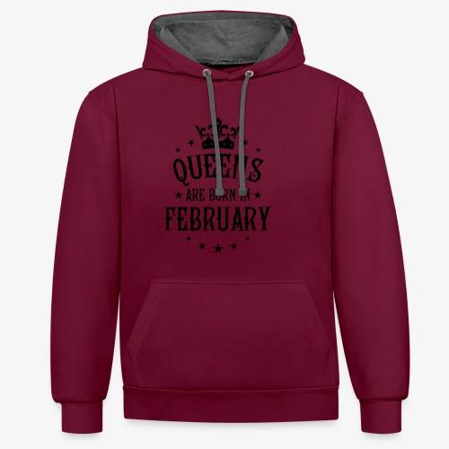 Queens are born in February Crown Legends Hoodie Kleid - Kontrast-Hoodie