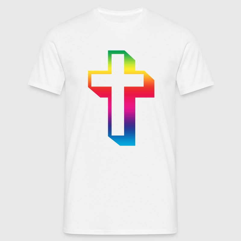 White rainbow_cross Men's T-Shirts - Men's T-Shirt