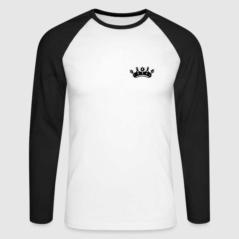 White/black King crown Long sleeve shirts - Men's Long Sleeve Baseball T-Shirt