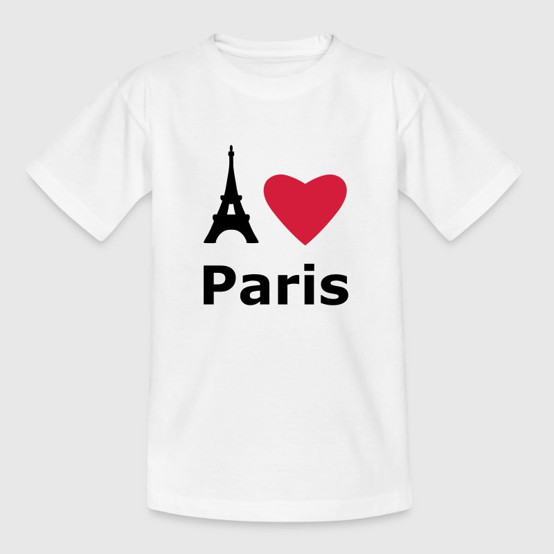 White I love Paris Kids' Shirts - Teenage T-shirt