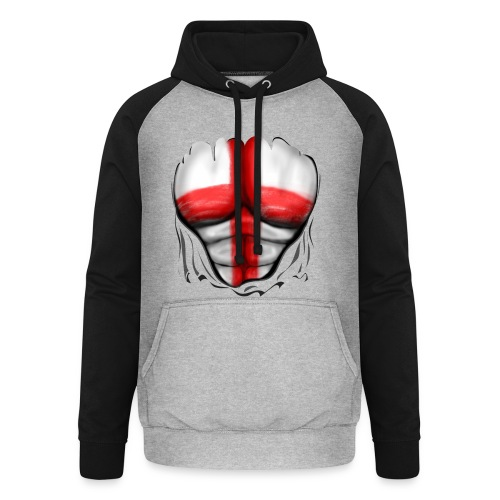 England Flag Ripped Muscles six pack chest t-shirt - Unisex Baseball Hoodie