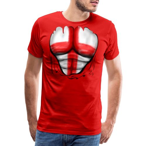 England Flag Ripped Muscles six pack chest t-shirt - Men's Premium T-Shirt