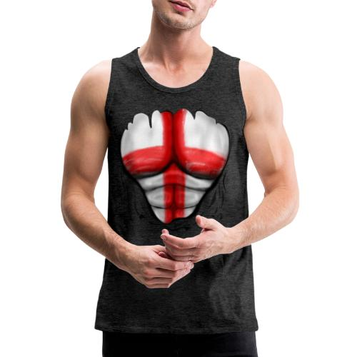 England Flag Ripped Muscles six pack chest t-shirt - Men's Premium Tank Top