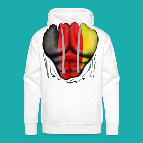 Germany Flag Ripped Muscles six pack chest t-shirt - Men's Premium Hoodie
