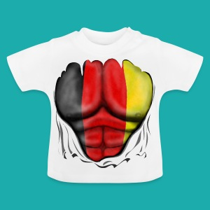 Germany Flag Ripped Muscles six pack chest t-shirt - Baby T-Shirt