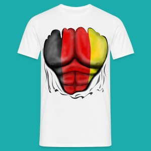 Germany Flag Ripped Muscles six pack chest t-shirt - Men's T-Shirt