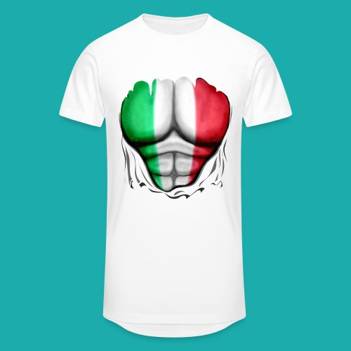 Italy Flag Ripped Muscles six pack chest t-shirt - Men's Long Body Urban Tee