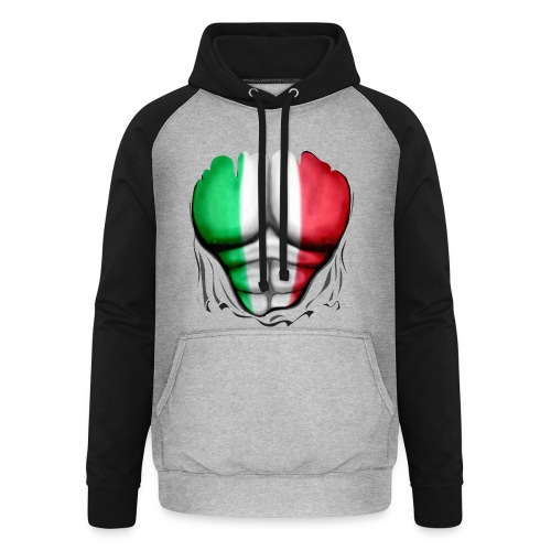 Italy Flag Ripped Muscles six pack chest t-shirt - Unisex Baseball Hoodie