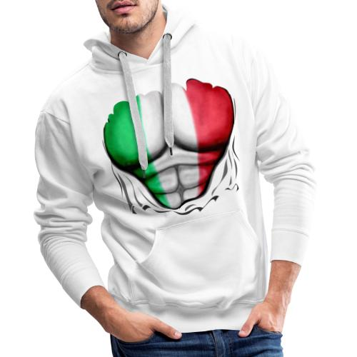 Italy Flag Ripped Muscles six pack chest t-shirt - Men's Premium Hoodie