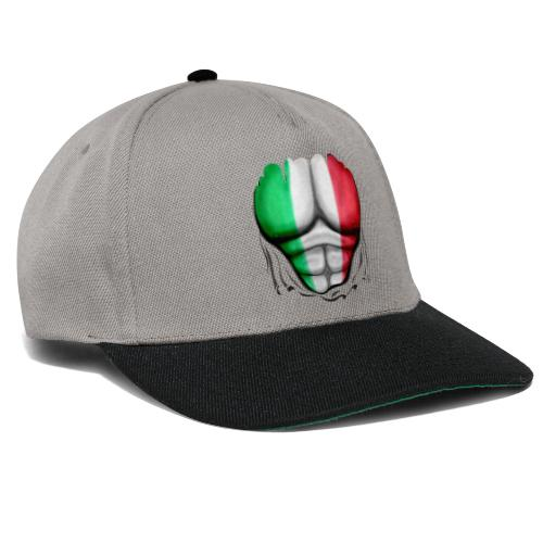 Italy Flag Ripped Muscles six pack chest t-shirt - Snapback Cap