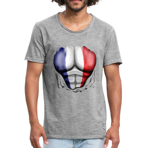 France Flag Ripped Muscles, six pack, chest t-shirt - Men's Vintage T-Shirt