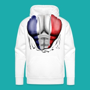 France Flag Ripped Muscles, six pack, chest t-shirt - Men's Premium Hoodie