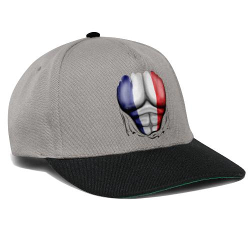 France Flag Ripped Muscles, six pack, chest t-shirt - Snapback Cap